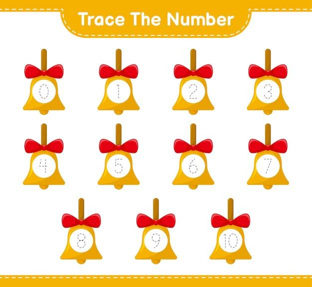 Número de rastreamento com sinos de natal dourados
