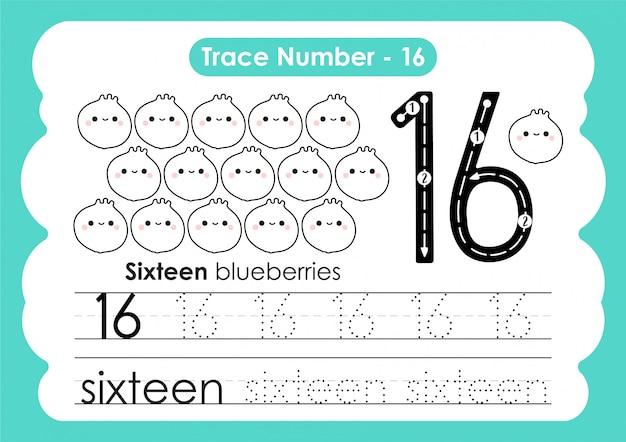 Número de rastreamento dezesseis - para crianças do jardim de infância e pré-escola
