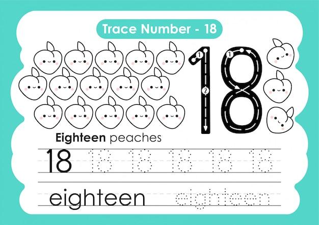Número de rastreamento dezoito - para crianças do jardim de infância e pré-escola