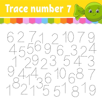 Número de rastreamento. prática de caligrafia. aprender números para crianças.