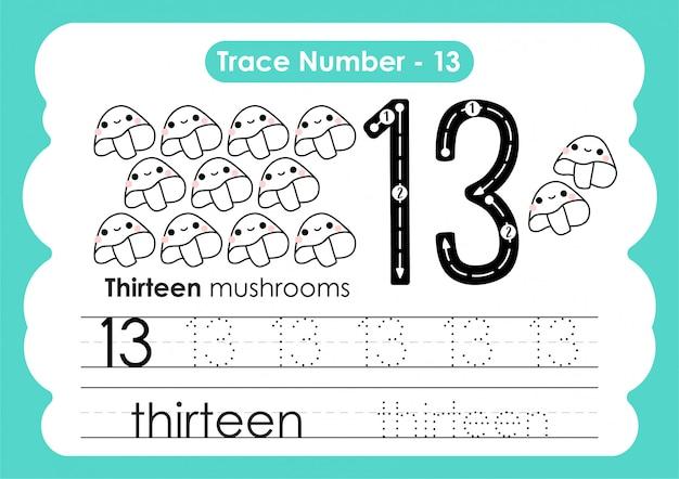 Número de rastreamento treze - para crianças do jardim de infância e pré-escola