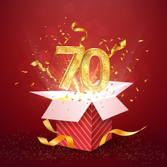 Número de setenta anos de aniversário e caixa de presente aberta com elemento de design isolado de confetes de explosões