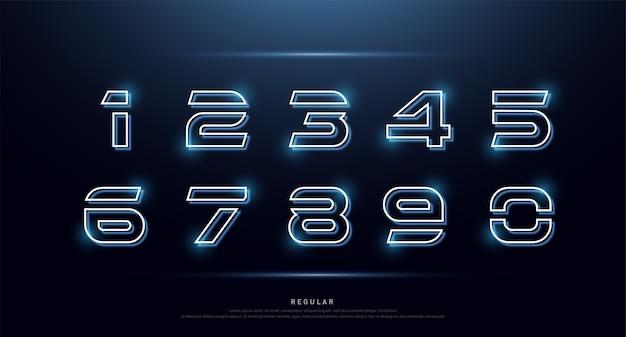 Número de tecnologia néon font alfabeto digital