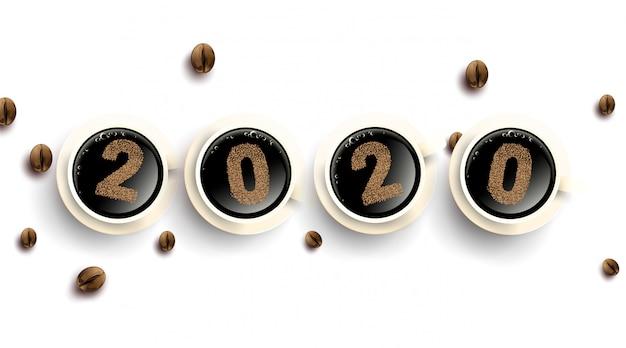 Número de texto de 2020 grãos de café. xícara de café quente com pó. simples