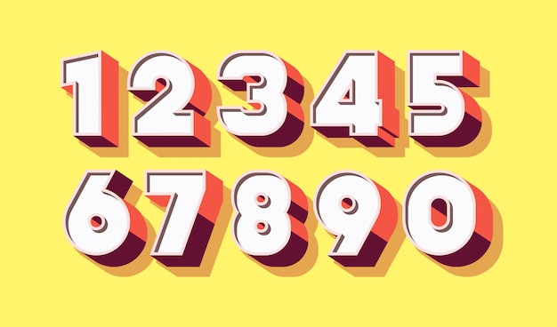 Número definido 3d cor negrito estilo