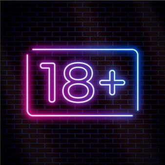 Número dezoito ou mais em letreiro estilo neon
