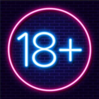 Número dezoito plus em estilo neon