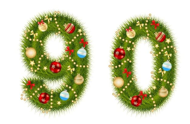 Número do alfabeto do natal ilustração isolada do vetor. eps10
