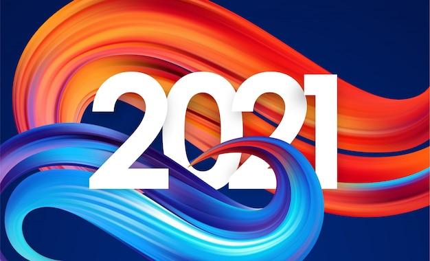 Número do ano 2021 com forma de traçado de tinta trançada abstrata colorida.