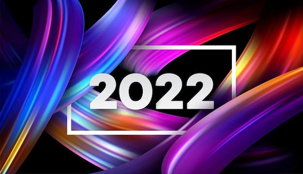 Número do cabeçalho do calendário 2022 em fundo de traçados de pincel de cor abstrata colorida. feliz ano novo fundo colorido de 2022. ilustração vetorial eps10