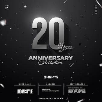 Número do convite do 20º aniversário com prata
