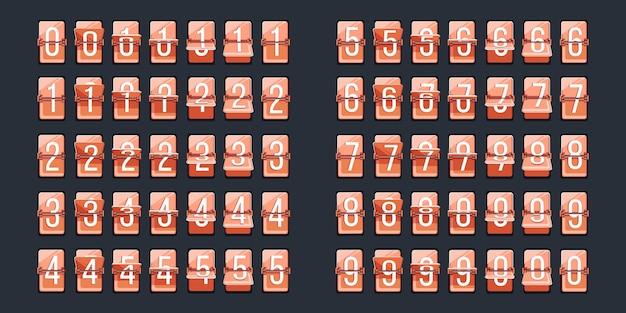 Número do flip. indicador retro de contagem regressiva para mostrador de relógio. vire o ícone do número do relógio. informação de data, horário de partida ou chegada, medição numérica de tempo. conjunto em ilustração de fundo escuro