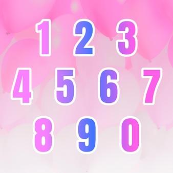 Número do gradiente com borda branca definida