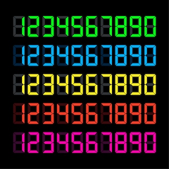 Número do relógio digital definido. ícone de tempo. elemento de design. ilustração em vetor das ações. ilustração vetorial
