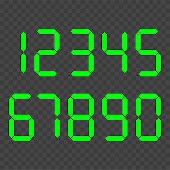 Número do relógio digital definido. números eletrônicos.