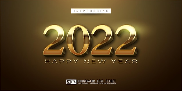 Número do texto editável feliz ano novo 2022 design ouro de luxo
