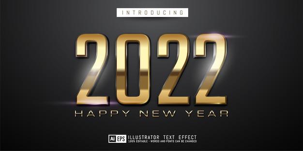 Número do texto editável feliz ano novo 2022 no conceito de cor ouro e preto