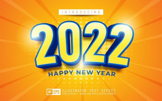 Número do texto editável feliz ano novo 2022 tema colorido