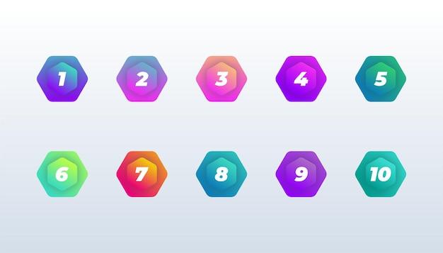 Número do vetor gradiente cor moderna