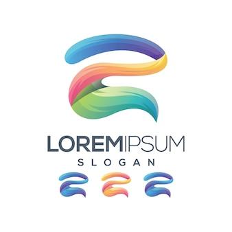 Número dois 2 logotipo de coleção gradiente