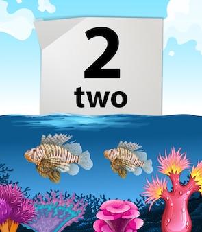 Número dois e dois peixes no fundo do mar