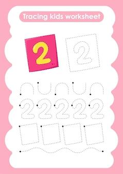 Número dois, trace linhas de escrita e planilha de prática de desenho para crianças
