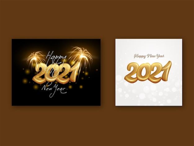 Número dourado 2021 com fogos de artifício e efeito bokeh em fundo branco e preto em duas opções