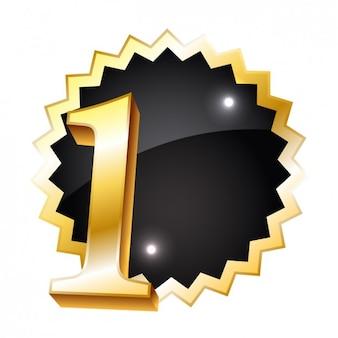 Número dourado um crachá