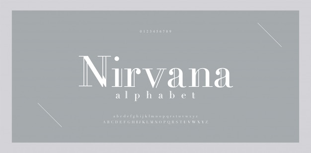 Número e fonte de letras do alfabeto elegante. letras clássicas, desenhos de moda minimalistas. números de fontes de tipografia com serifa maiúsculas e minúsculas.