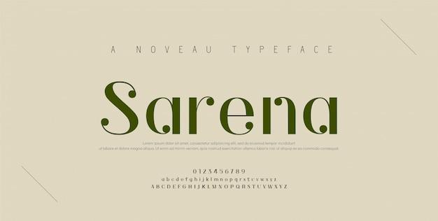 Número e fonte de letras do alfabeto elegante. rotulação de cobre clássica design de moda minimalista. fontes de tipografia regulares maiúsculas e minúsculas.