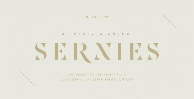 Número e fonte de letras do alfabeto elegante