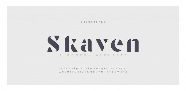 Número e fonte de letras do alfabeto impressionante elegante. letras clássicas, desenhos de moda minimalistas.
