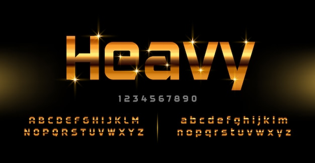 Número e fonte moderna alfabeto ouro. tipografia de tecnologia fontes douradas maiúsculas