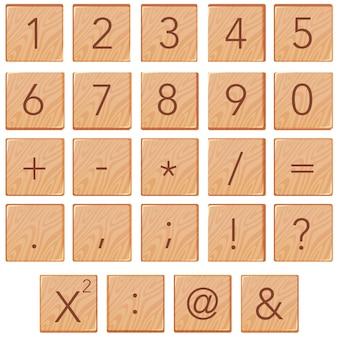 Número e ícone de matemática no bloco de madeira