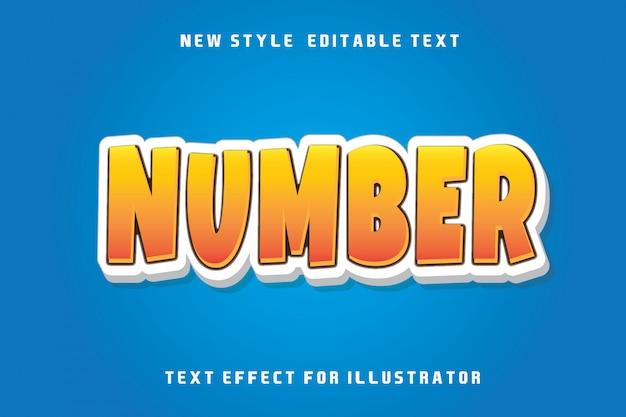 Número, efeito de texto editável moderno