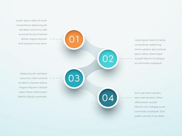Número etapas quatro círculo vinculado infográfico