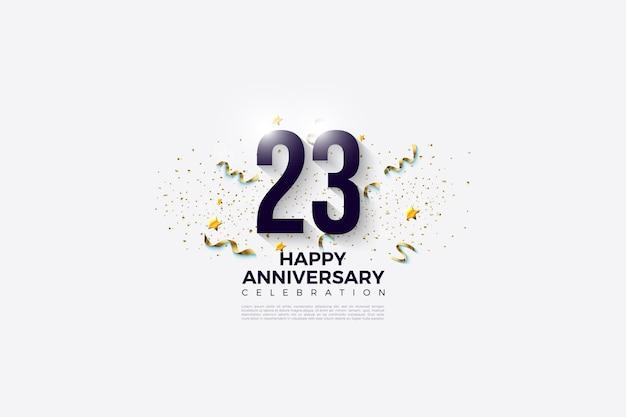 Número festivo na parte de trás para a celebração do 23º aniversário