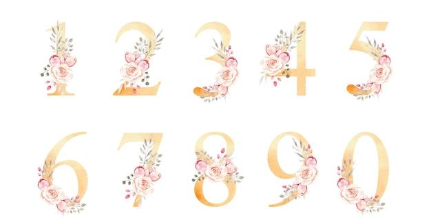Número floral aquarela