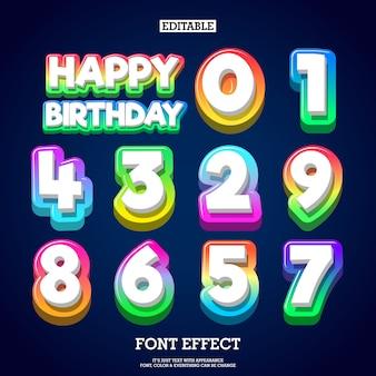 Número moderno do texto do inclinação do colofull 3d para o projeto do aniversário dos miúdos