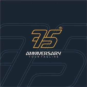 Número moderno e luxuoso para o 75º aniversário