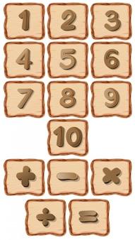 Número na placa de madeira