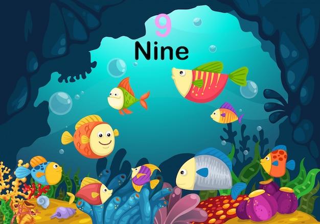 Número nove peixes sob o vetor do mar
