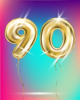 Número noventa e ouro balão de folha no gradiente