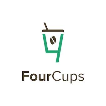 Número quatro com xícara de café simples, elegante, criativo, geométrico, moderno, logotipo, design
