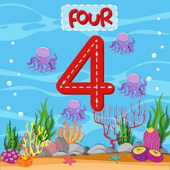 Número quatro tema subaquático