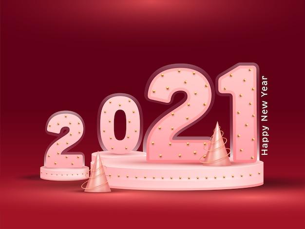 Número rosa brilhante decorado com pérolas douradas e cones de árvore de natal em fundo vermelho para feliz ano novo.