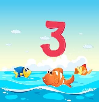 Número três com 3 peixes no oceano