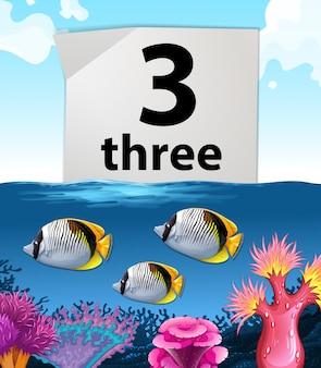 Número três e três peixes debaixo d'água