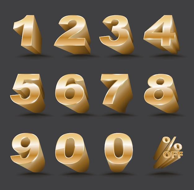 Número tridimensional definido de 0 a 9 com porcentagem de desconto