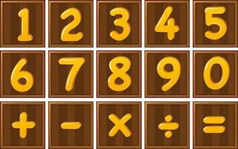 Número um a zero e sinais de matemática em tábuas de madeira